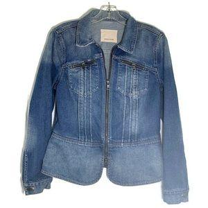 Rebecca Taylor pin tuck denim jean jacket full zip